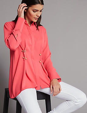Waist Detail Long Sleeve Shirt, WATERMELON, catlanding