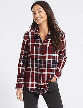 Checked Long Sleeve Shirt, MULTI, catlanding