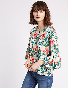Floral Print 3/4 Sleeve Shell Top, GREEN MIX, catlanding