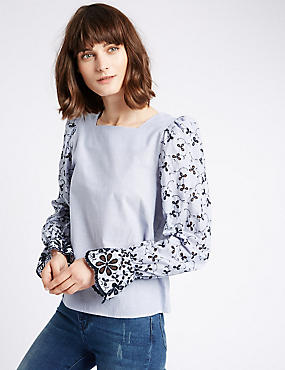 Flared Cuff Cutwork Sleeve Blouse, BLUE MIX, catlanding