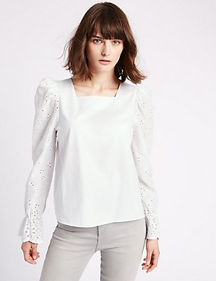 Flared Cuff Cutwork Sleeve Blouse, SOFT WHITE, catlanding