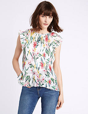 Floral Print Plisse Cap Sleeve Shell Top, PINK MIX, catlanding