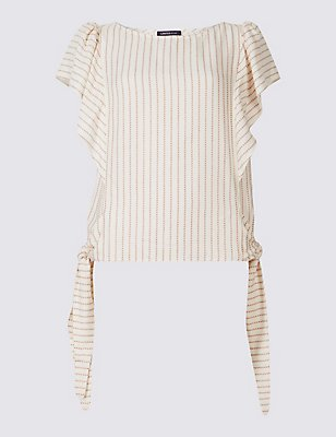 Striped Tie Side Short Sleeve Shell Top, IVORY MIX, catlanding