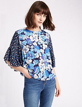 Floral Print Frill Sleeve Shell Top, PURPLE MIX, catlanding