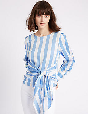 Pure Cotton Striped Tie Front Shell Top, CHAMBRAY MIX, catlanding