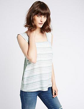 Linen Rich Striped Square Neck Vest Top, CHAMBRAY MIX, catlanding