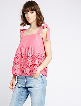 Pure Cotton Broderie Pinafore Shell Top, PINK, catlanding