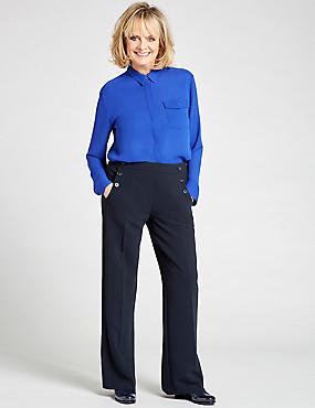 Pocket Detail Long Sleeve Shirt  , BLUE, catlanding