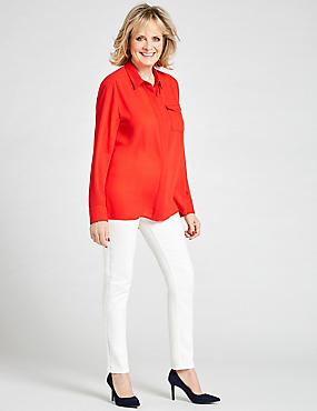 Pocket Detail Long Sleeve Shirt  , TOMATO, catlanding