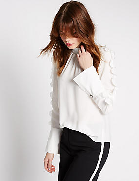 Ruffle High Neck Long Sleeve Blouse, SOFT WHITE, catlanding