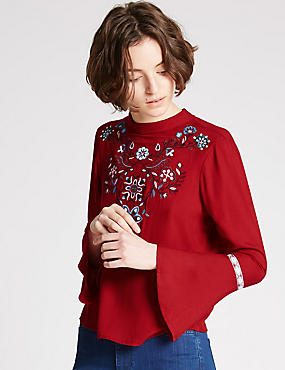 Embroidered Turtle Neck Long Sleeve Blouse, RED MIX, catlanding
