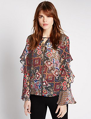 Floral Print Ruffle Sleeve Blouse, BLACK MIX, catlanding