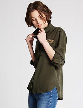 Praktisch overhemd met lange mouwen, KAKI MIX, catlanding