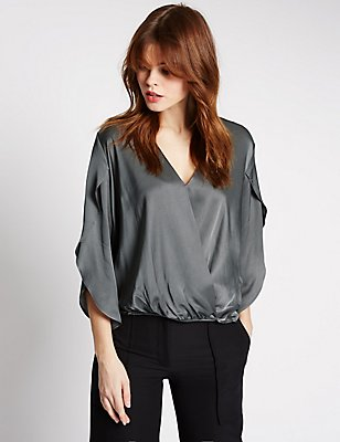 Wrap V-Neck Split Sleeve Blouse, STEEL, catlanding