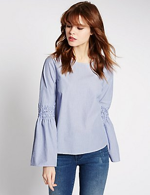 Pure Cotton Striped Fluted Sleeve Blouse, BLUE MIX, catlanding