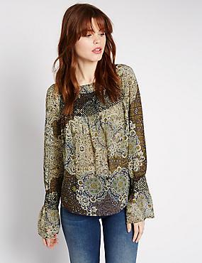 Paisley Print Fluted Sleeve Blouse, BLACK MIX, catlanding
