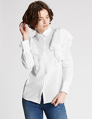 Pure Cotton Poplin Ruffle Shirt, SOFT WHITE, catlanding