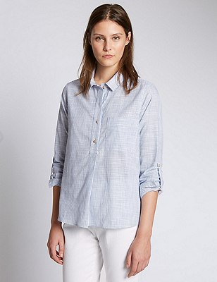 Camisa de rayas 100% algodón, MEZCLA DE TONOS AZULES, catlanding