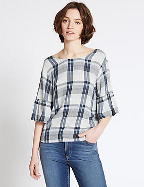 Checked Round Neck Half Sleeve Shell Top, NAVY MIX, catlanding