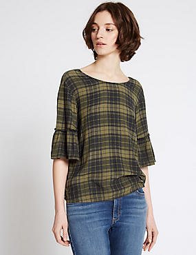 Checked Round Neck Half Sleeve Shell Top, KHAKI MIX, catlanding