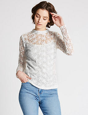 Cotton Blend Embroidered Long Sleeve Blouse, IVORY, catlanding