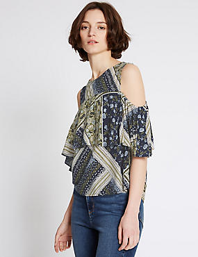 Patchwork Round Neck Sleeveless Shell Top, MULTI, catlanding