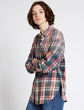Pure Cotton Checked Long Sleeve Shirt, NAVY MIX, catlanding