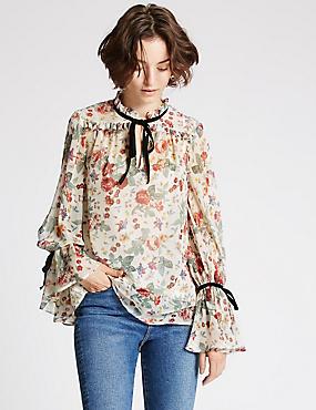 Vintage Floral Print Long Sleeve Blouse, IVORY MIX, catlanding