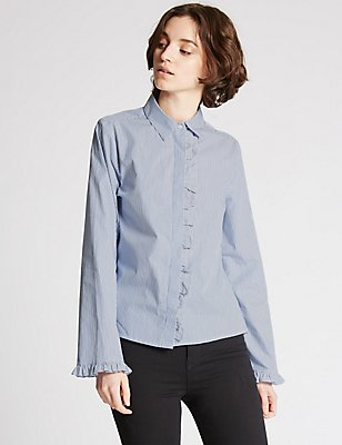 Pure Cotton Striped Ruffle Poplin Shirt, BLUE MIX, catlanding