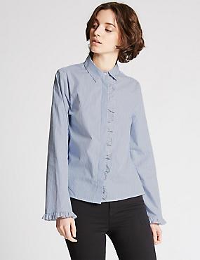 Pure Cotton Striped Ruffle Poplin Shirt, BLUE MIX, catlanding