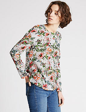 Floral Print Long Sleeve Blouse, IVORY MIX, catlanding