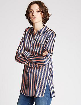 Striped One Pocket Shirt, NAVY MIX, catlanding