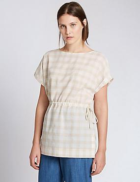 Túnica de cuadros de algodón con cinturón con lino, NEUTRO, catlanding