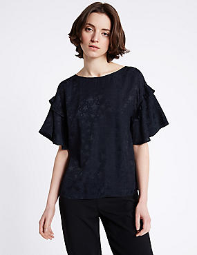Star Textured Round Neck Half Sleeve Blouse, NAVY, catlanding