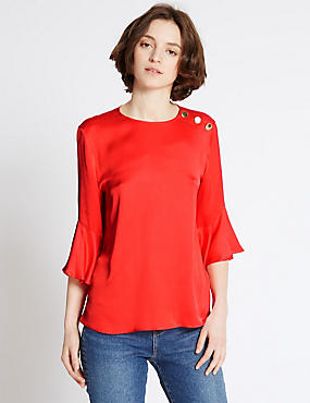 Ruffle Round Neck 3/4 Sleeve Blouse, RED, catlanding