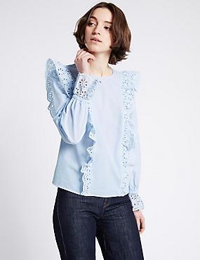 Pure Cotton Frill Detail Long Sleeve Blouse, BLUE MIX, catlanding