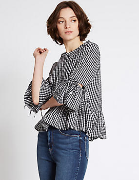 Pure Cotton Checked 3/4 Sleeve Blouse, BLACK MIX, catlanding
