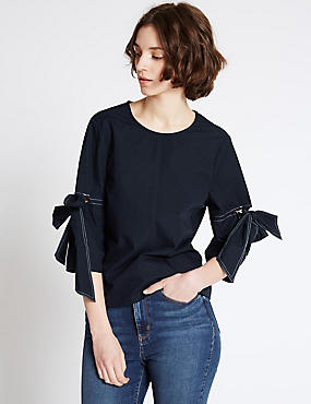 Pure Cotton Tie Sleeve Poplin Shell Top, NAVY, catlanding