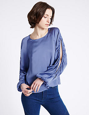 Satin Round Neck Open Sleeve Blouse, BLUE, catlanding