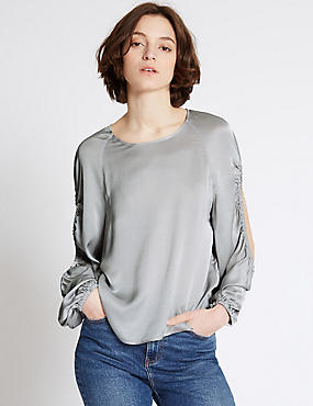 Round Neck Long Sleeve Blouse, SILVER, catlanding