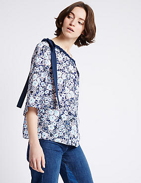 Floral Print Cold Shoulder Shell Top, BLUE MIX, catlanding