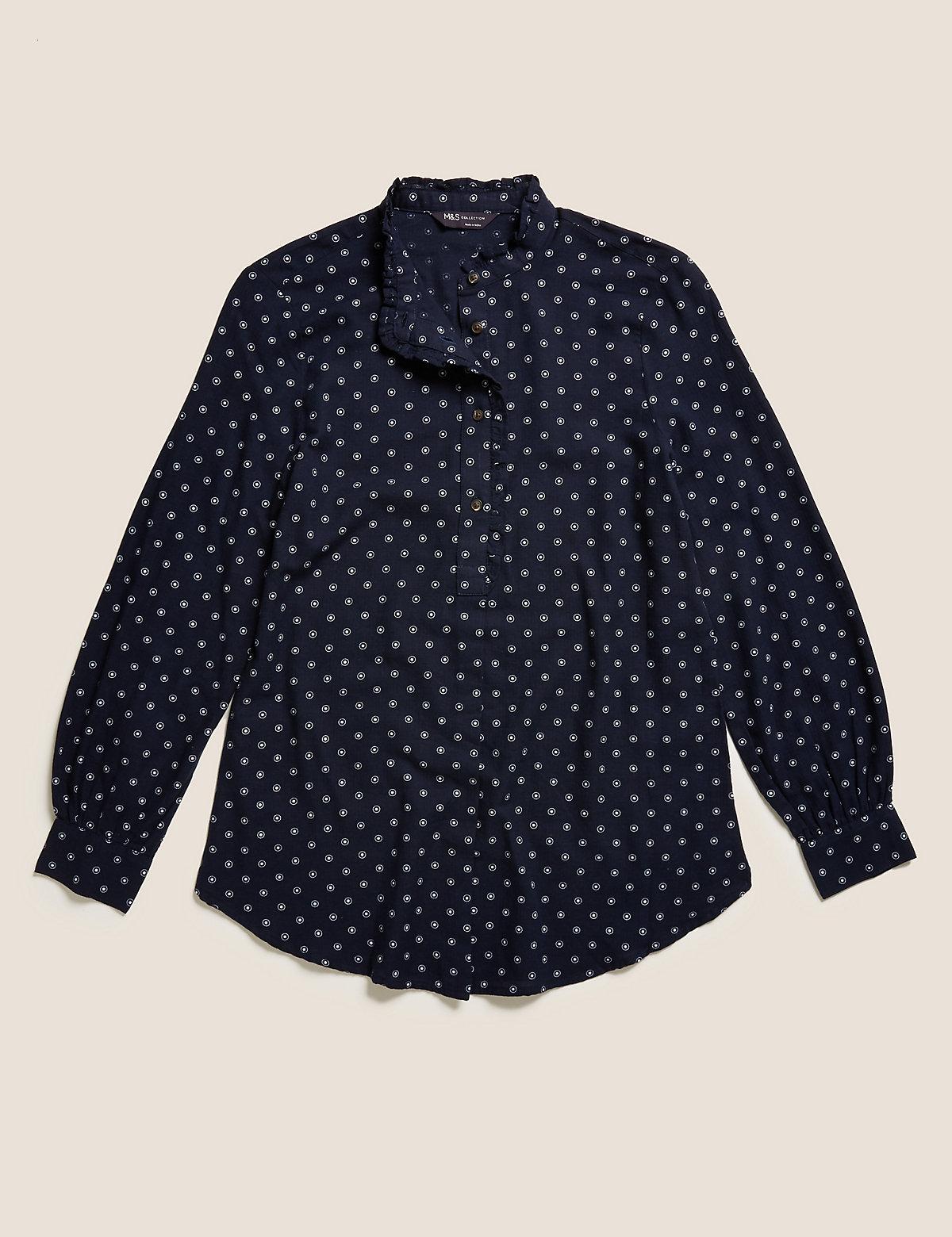 Блузка удлиненная с длинным рукавом из хлопка в горошек