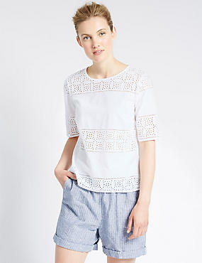 PETITE Pure Cotton Panel Cutwork Shell Top, WHITE, catlanding