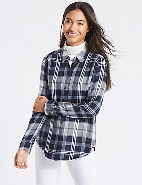 Checked Long Sleeve Shirt, NAVY MIX, catlanding