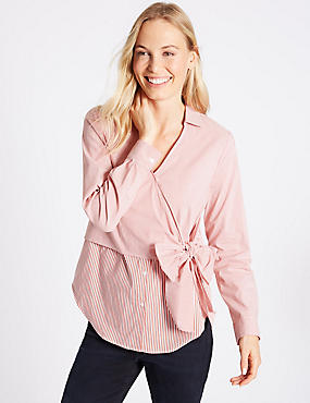 Cotton Rich Striped Wrap Front V-Neck Shirt, RED MIX, catlanding
