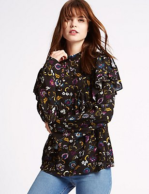 Printed Ruffle Front Long Sleeve Blouse, NAVY MIX, catlanding