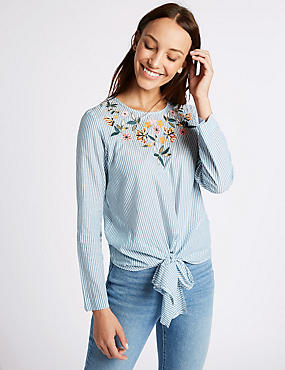 Striped Embroidered Tie Front Blouse, BLUE MIX, catlanding