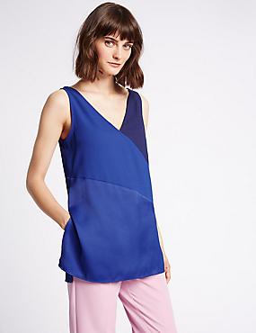 Colour Block V-Neck Vest Top, NAVY MIX, catlanding