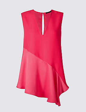 Asymmetric V-Neck Sleeveless Shell Top, BRIGHT PINK, catlanding