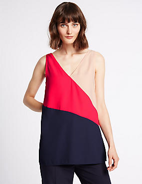 Colour Block Longline Sleeveless Vest Top, MULTI, catlanding